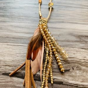 Beaded Suede Feather Necklace